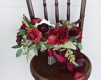 Burgundy Bouquet and Deep Red Fern Berry Wedding Bouquet | Romantic Moody Silk Flower Bridal Bouquet | SG-1049