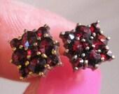 XMAS in JULY SALE Antique Bohemian Natural Rose Cut Garnet 14k & Sterling Vermeil Stud Earrings Antique Jewelry Jewellery