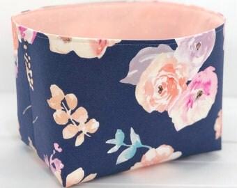 Storage Basket Baby Girl Nursery Decor Room Decor Home Decor Office Decor Flowers Floral Blush Pink Peach Blue