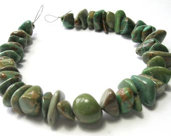 Green Turquoise Nugget Beads (11-17mm) - Gemstone Beads - Natural/Untreated (B)