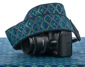 Plume dSLR Camera Strap, Teal, Green, Aqua, Gold Metallic, Pocket, Peacock Plume,  SLR, 115
