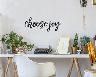 Choose Joy Farmhouse Style Decal 10x26 saying Delicate Script Decor Vinyl Wall Decal Graphic