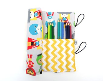 Pencil Roll - Superhero -  rocket pencil case, adult coloring, Bible journal accessory, animal colored pencil roll READY TO SHIP