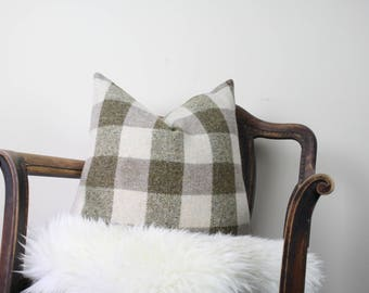 "20""x20"" Taupe and Cream Check Vintage Wool Pillow Cover 