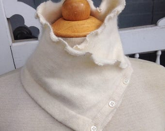 SALE Handmade creme ivory soft cashmere scarflette neck warmer with button details. Upcycled. Felted cashmere. Winter wear.