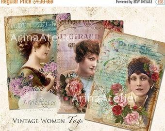 SALE - 30%OFF - Vintage Women Tags - ATC Cards 2,3 x 3,5 - Digital Download Sheet - Digital Collage Sheet