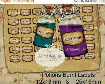 SALE - 30%OFF - LABELS Potions Burnt Mini Labels -  12x18mm & 25x16mm - Harry Potter Potions Labels -  digital bottle labels - collage bottl