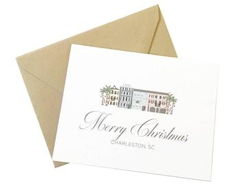 Charleston Christmas Card, Rainbow Row Scene, Charleston Holiday Card, Charleston SC, Scenery, Palm Tree, Christmas Lights