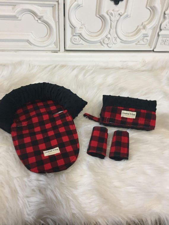 Car seat arm pad / car seat head support / car seat strap covers / buffalo plaid and black minky
