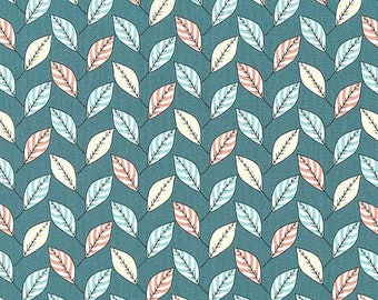 1/2 yard - FEUILLES in Teal, Strawberry tea collection, Michael Miller fabrics