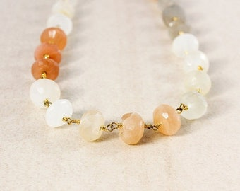ON SALE Peach Moonstones Beaded Necklace