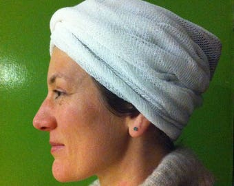White Infinity loop head cover wrap shawl kundalini yoga