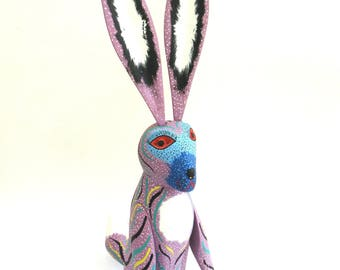 vintage colorful carved and brightly painted wooden rabbit   ...   oaxaca mexico  ...   oaxacan artisan  ...   luis sosa calvo