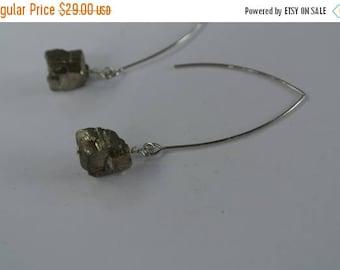 60% OFF SALE Minimalist Wire Pyrite Earrings,  Stainless Steel Nickel free, Bridesmaid, Simple, Elegant