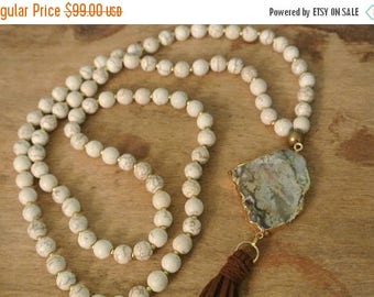 CLEARANCE SALE 80% OFF Bohemian Cream Magnetite / Jasper Beaded Hand Knotted Necklace /  Chic Layering Necklace