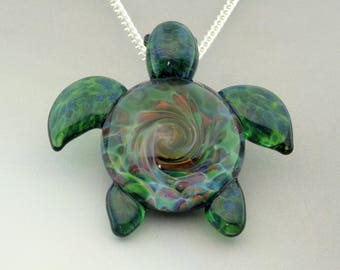 Turtle - Hand Blown Glass Sea Turtle Pendant Burst of Color Spiral Reef Back Lampwork Focal Bead (T7277A)