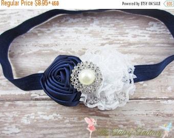 Navy Blue and White Flower Headband, Satin & Lace Headband, Newborn Headband, Baby Hair Clip, Infant Toddler Child, Baby Girls Headband