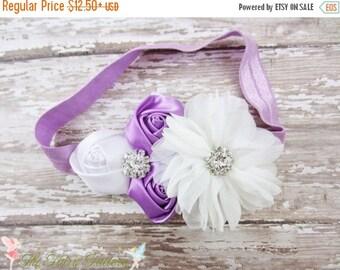 Lavender and White Headband, Satin & Chiffon Flowers w/ Crystals Lavender Headband or Hair Clip, Flower Girl, Baby Child Girls Headband