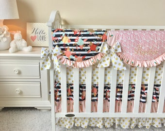 Coral, Gold, Black and White Stripe Bumperless Bedding, Baby girl Bumperless Crib Bedding, Black and White Crib Bedding, Baby girl nursery