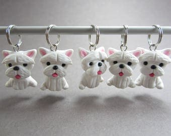 Westie Stitch Markers polymer clay dog charms knitting, West highland terrier dog, westie dog, westie gift, gift for knitters white knit