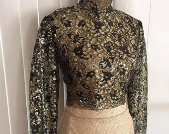 40% OFF Christmas in July Vintage 50's 60's Gold and Black Risque Sheer Cropped Blouse