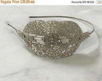 CIJ SALE Beaded and Crystal Art Deco Headband