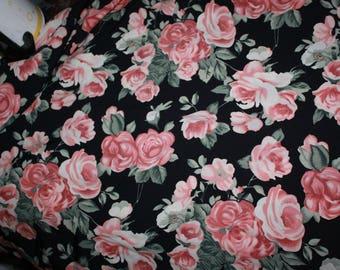 vintage silky floral print fabric  4 yards