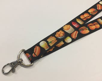 Hamburger and French Fries Fast Food ID Lanyard with a Lobster Claw Clasp