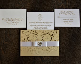 Laser and gold foil floral design invitation