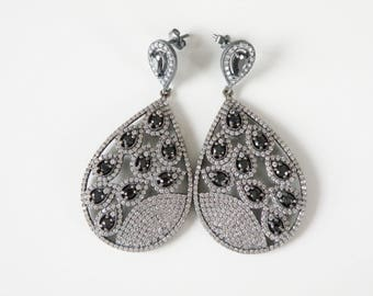 Vintage Art Deco Style Oxidized Silver Faux Sapphire White Clear Pave Cubic Zirconia Formal Long Pendant Earrings
