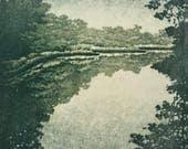 Woodblock Print Water No. 2 Moku Hanga Japanese Woodblock Reduction Print limited edition landscape fine art print