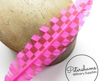 Checkerboard Pattern Imitation Goose Quill Feather for Millinery (Single Feather) 28-30cm - Bright Pink