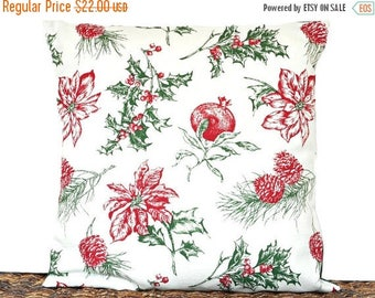 Christmas in July Sale Christmas Botanical Pillow Cover Cushion Poinsettia Holly Berries Pomegranates Pine Cones Red Green Beige Decorative