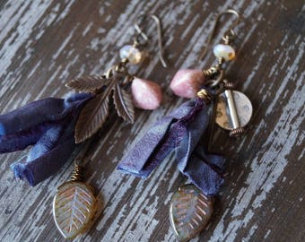Mis Match Earrings - Tassel Earrings - Long Boho Earrings - Pink and Blue - Woodland Earrings - MisMatch - Bead Soup Jewelry
