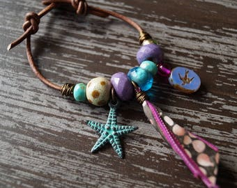Beaded Leather Bracelet - Boho Leather Bracelet - Purple and Blue - Star Fish - Bead Soup Jewelry
