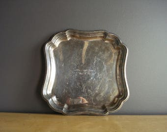 Vintage Silver Tray - Square Silverplate Platter or Serving Tray - Ross and Nancy 1975