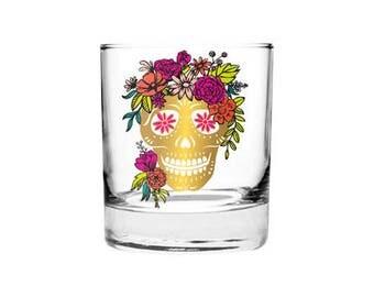 Sugar Skull Gift Set - Gold Enameled Skull Tumblers - Glasses with 6 Skull Stickers