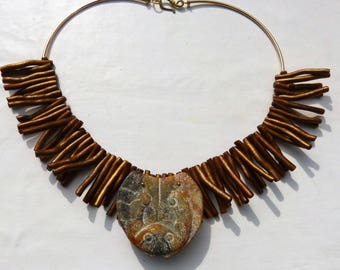 Vintage Chinese Hongshan Serpentine Mask Pendant Necklace with Gold Coral, Designer Necklace