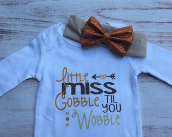 Little Miss Gobble till you wobble Turkey Day Onepiece Onesie shirt headband set Thanksgiving Outfit Baby Girl Clothes Baby Toddler holiday