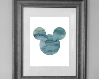 Mickey Mouse Painting Print / Bedroom Nursery Decor / Home Decor / Mickey Mouse Party / Seaside Art / INSTANT DOWNLOAD