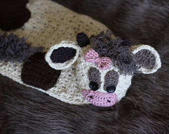 Medium image of crochet baby pattern   crochet baby cow blanket with matching hat   crochet baby hat pattern
