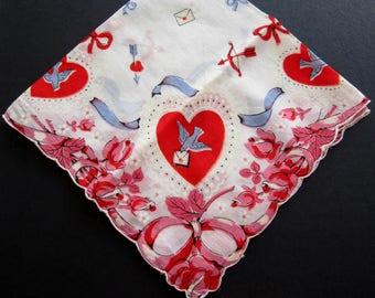 LOVE HEARTS VALENTINE Printed Cotton Hanky Hankie Handkerchief Scalloped Edge Doves Bows