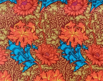 Kaffe Fassett, OOP, rare, Winding Floral, rust, Floral fabric by the half yard, yardage available