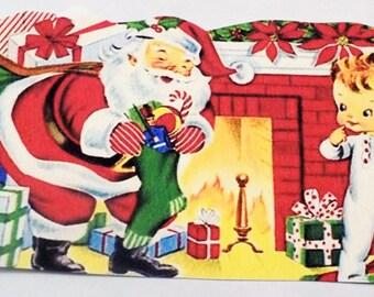 Retro Santa Tags - Gift Tags - Set of 4 - Christmas Eve - Boy And Santa - Santa N Stocking - Fireplace Scene - Vintage Christmas - Xmas Tag