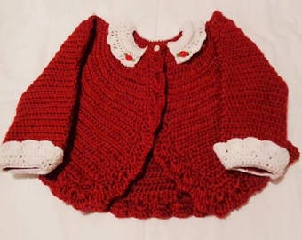 Crocheted Infant Bolero Sweater w Lace Collar Cuffs Autumn Red 12 18 mo