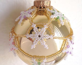 It's Snowing! Ornament Cover - Tutorial - Instructions - Beading Pattern