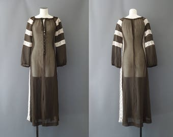 Marrakech dress | Chocolate cotton gauze dress | 1970's by cubevintage | small