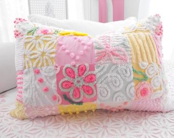 COTTAGE HOME Vintage Chenille Patchwork Quilt Style Pillow Sham