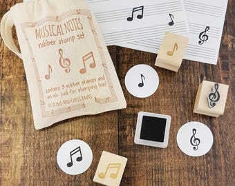 Musical Notes Rubber Stamp Set - Music Stamper - Crotchet Stamp - Treble Clef - Quaver Stamp - Gift for Musician - Music Teacher Present