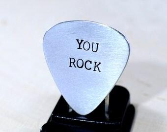 You Rock Guitar Pick in Aluminum for Musical Inspiration - GP952